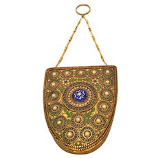 Vintage French Bronze Enamel And Pearl Compact