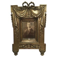 Quality Antique Bronze Picture Frame With Drape Design