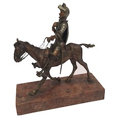 Antique Cold Painted Vienna Bronze Of Don Quixote On His Horse