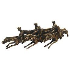 Vienna Bronze Antique Of Jockeys On Horses