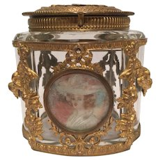 Antique French Crystal and Bronze Box