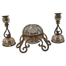 Antique French Crystal And Bronze Set-2 Candlesticks And A Box
