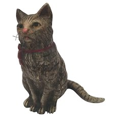Antique Cold Painted Vienna Bronze Cat With A Ribbon