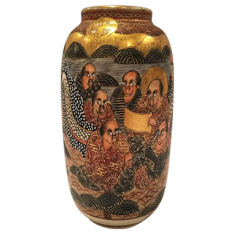 Antique Satsuma Vase From Meiji Period With Figures And Enamel Work