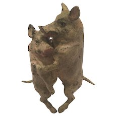 Antique Cold Painted Vienna Bronze Of Two Pigs Embracing