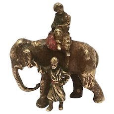 Antique Cold Painted Vienna Bronze Of Two Men And An Elephant