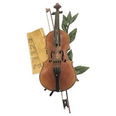 Antique Cold Painted Vienna Bronze Of A Violin And Bow