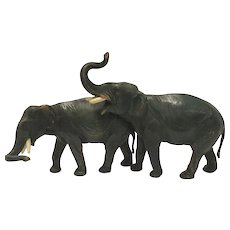 Signed Antique Cold Painted Vienna Bronze Of Two Attached Elephants