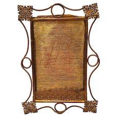Antique British Bronze Frame With Filigree Designs