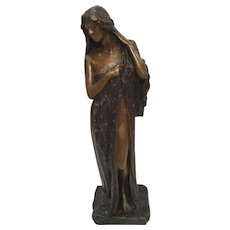 Antique American Renaissance Bronze Of Alluringly Dressed Woman