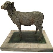 Rare Antique Cold Painted Vienna Bronze Sculpture Of A Sheep