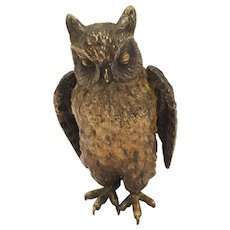 Antique Cold Painted Vienna Bronze Owl