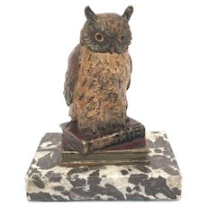 Antique Painted Vienna Bronze Owl Standing On Books
