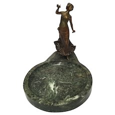 Cold Painted Vienna Bronze Dancer On Green Onyx Base
