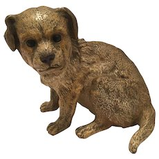 Antique Vienna Bronze Cold Painted Dog Inkwell Marked Geschutzt