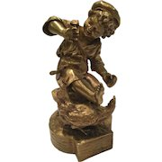 Antique Allouard Signed French Bronze Sculpture Of A Boy With A Rooster And A Dragonfly