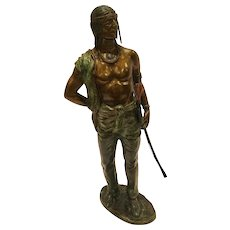 Carl Kauba Cold Painted Vienna Bronze Sculpture Of An Indian