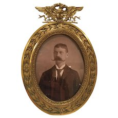 Antique Oval Bronze Frame With An Eagle