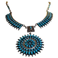 Sale today $750 large cluster necklace by Navajo silversmith Benson Charlie Yazzie (1947 - 2001), beautiful turquoise snake eyes