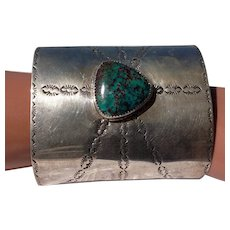 On Sale for $275, Vintage large Sterling Silver stamped and turquoise stone Native American cuff