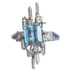 Mid Century Modern Aquamarine, approx. 1.2 carats and diamond baguettes on 18 Karat white gold