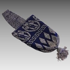 On sale for $95, 1920's Fabulous metal steel beaded and navy blue fabric purse, great condition, wonderful wearable