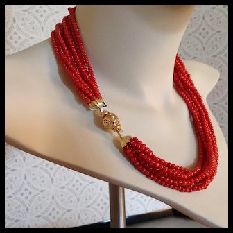 "Rare Sardinian Coral necklace, 18K clasp, 81.60 grams, 18"" on sale for $1995.00"