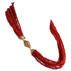"""Rare Sardinian Coral necklace, 18K clasp, 81.60 grams, 18"""" on sale for $1995.00"""