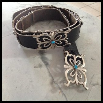 Old Silver Sand Cast with turquoise concho belt, size large