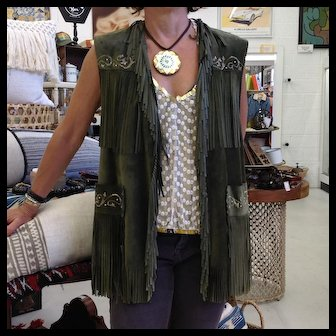 Patricia Wolf forest green suede hand painted vest, the pictures don't do it justice, it's beautiful vibrant green and hand painted with studs