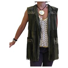 Reduced to $145, Patricia Wolf forest green suede hand painted vest, the pictures don't do it justice
