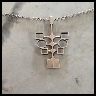 Vtg. David Anderson Mid Century Modern silver necklace and chain, Norway