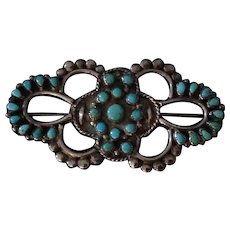 Old Native American SNAKE EYES turquoise and  Sterling Silver pin