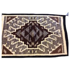 "Reduced by $250 to $145, Navajo Two Grey Hills hand woven Native American Rug 34"" x 22"""