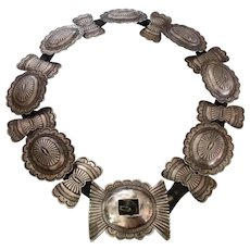 Native American Sterling Silver concho belt, old Fred Harvey Era stamped and pierced reduced by $100 to $795