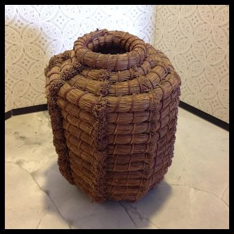On sale $150, 1930's Northern California Pine Coiled Needle Basket, very large, tall and heavy