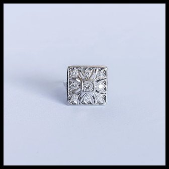 Square diamond ring white gold with a .40 carat diamond