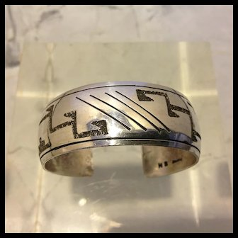 "Hopi style Sterling Silver cuff, signed ""HB Sterling"", possibly a member of the Begay family or Harrison Bitsue Navajo"