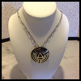 Sterling Silver Taxco pendant or pin with Hopi influence with or without chain