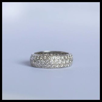 Reduced to $1095, 14 Karat White Gold PAVE Eternity band, thick and Gorgeous clean and bright diamonds