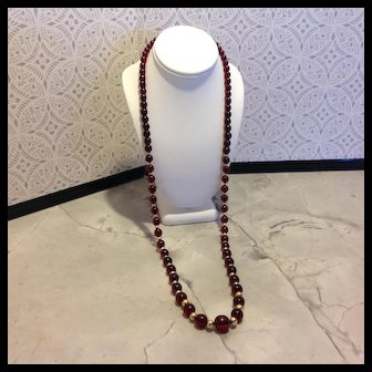 Reduced to $325, Old Cherry Amber beads professionally re-strung on old Gold Filled beads