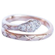 Short Term Sale $595, 14 Karat Rose Gold Snake ring fits size 6 1/2 but can be unfurled to accommodate larger size