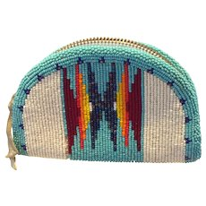 OLD MUSEUM QUALITY Stunning Shoshone Native American Fully Beaded Coin Purse reduced to $45