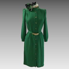 St. John for Neiman-Marcus royal green knitted coat dress with self belt and matching goldtone and enamel buttons, reduced $200 to $195