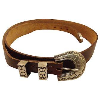 Sterling Silver Ranger belt buckle set on useable leather belt