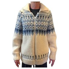 Vintage Hand Knit Norwegian zip front sweater, unisex, size Large or extra Large