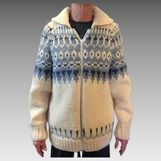 Vintage Hand Knit Norwegian zip front sweater, unisex, size Large or extra Large, sale $75