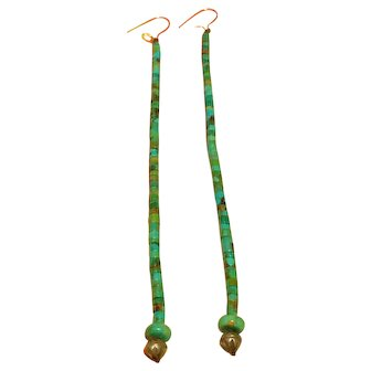 "Long turquoise heshe rolled Pueblo earrings on silk thread, 5 3/16"" from jump ring on Sterling Silver"