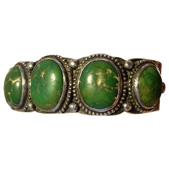 1930's or earlier Whirling Logs turquoise bracelet, reduced by $100 to $395