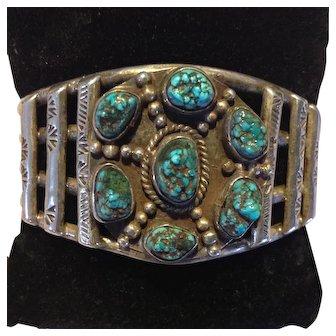 Native American Sterling Silver nugget bracelet, 7 stones